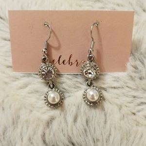 Silver Pearl Crystal Dangle Earrings